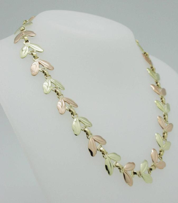 1950s Tiffany & Co. Pink and Yellow Gold Leaf Necklace 4
