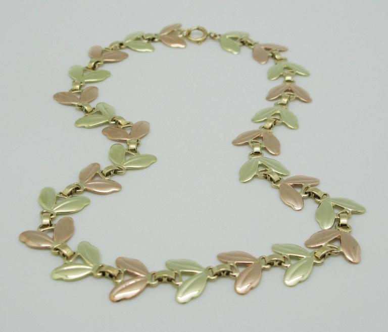 1950s Tiffany & Co. Pink and Yellow Gold Leaf Necklace 5
