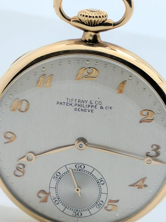 Patek Philippe for Tiffany & Co. Yellow Gold Pocket Watch, circa 1930s In Good Condition For Sale In Gainesville, FL