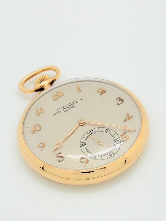 Women's or Men's Patek Philippe for Tiffany & Co. Yellow Gold Pocket Watch, circa 1930s For Sale