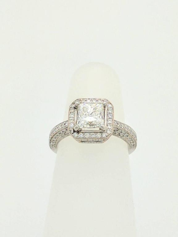 Modern Simon G White Gold Princess Cut Diamond Engagement Ring For Sale