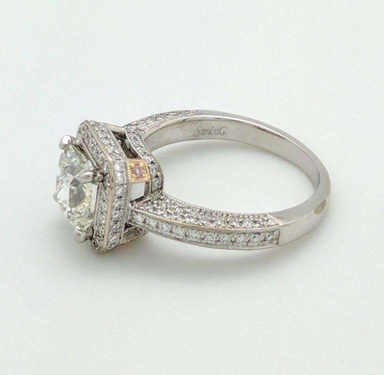 Simon G White Gold Princess Cut Diamond Engagement Ring For Sale 3