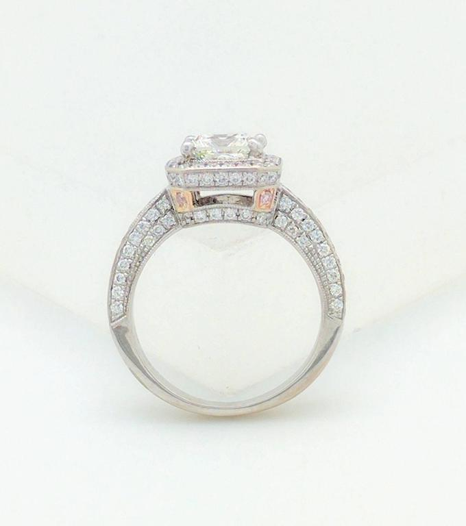 Simon G White Gold Princess Cut Diamond Engagement Ring For Sale 1
