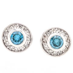 14 Karat White Gold Bezel Set Blue and White Diamond Stud Earrings