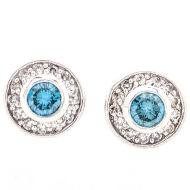 14 Karat White Gold Bezel Set Blue and White Diamond Stud Earrings