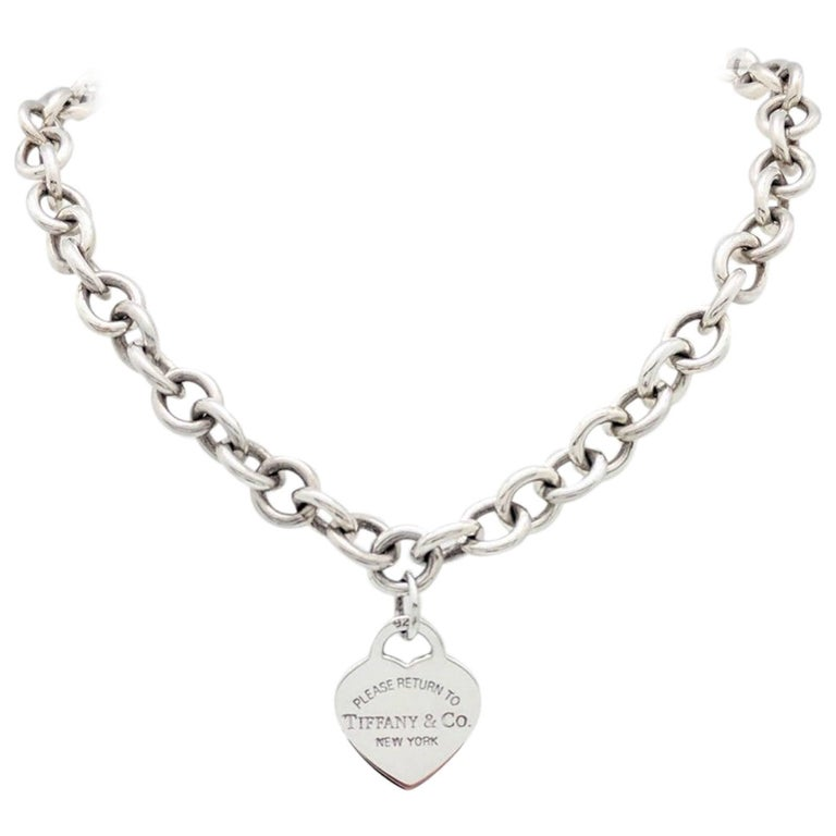 84a650ed0 Tiffany & Co. Sterling Silver Please Return to Heart Necklace For Sale