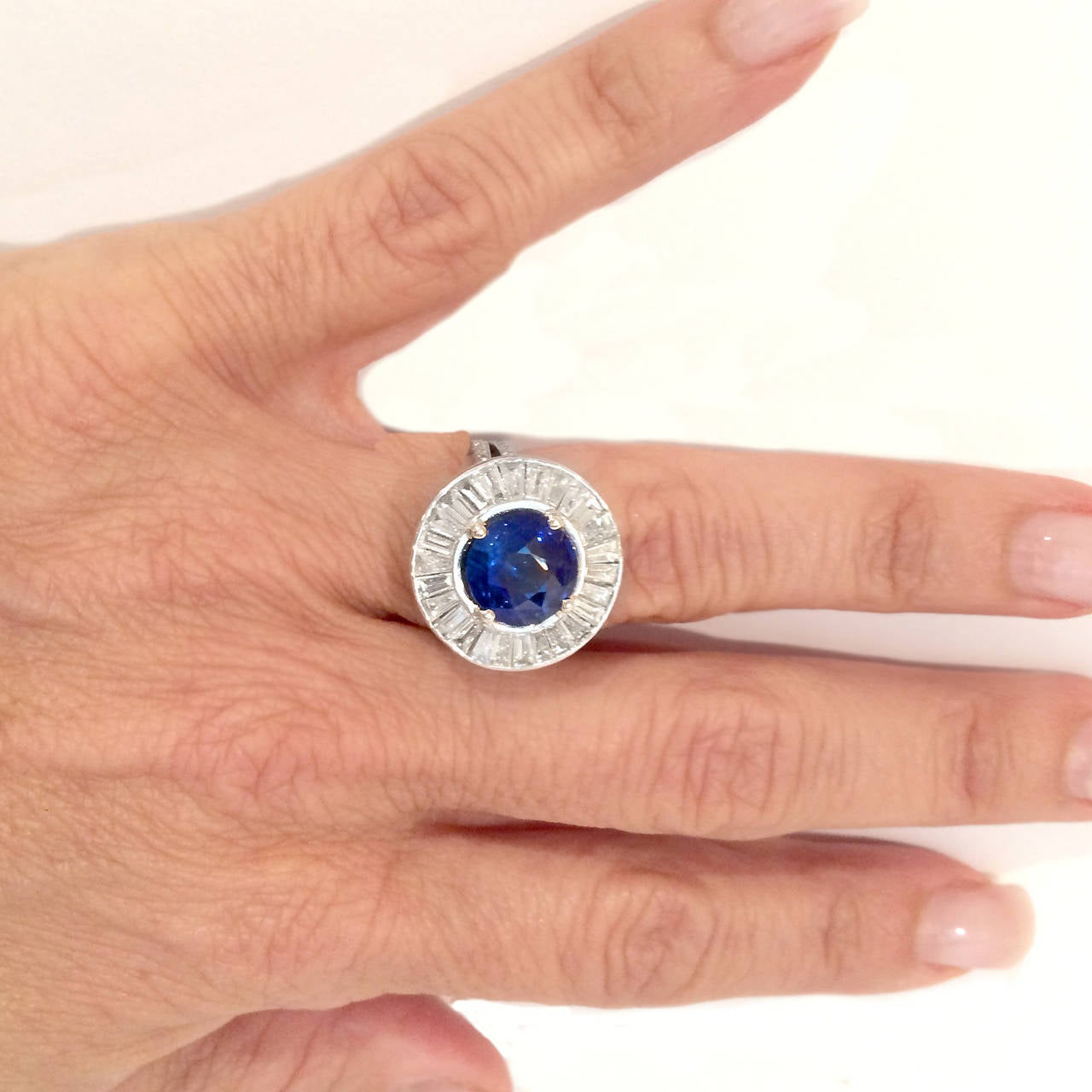 Outstanding Sapphire Diamond Platinum Ring 3