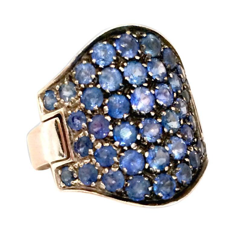 5.05 Carat Pave Sapphire Diamond Gold Ring 1