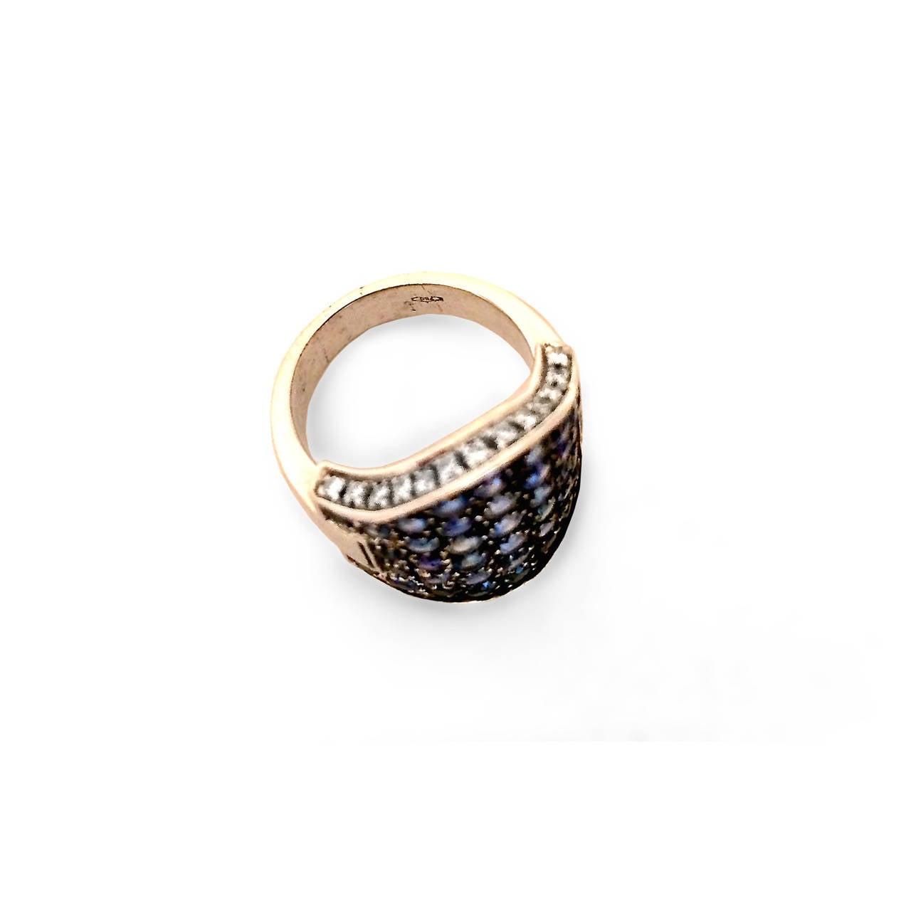 5.05 Carat Pave Sapphire Diamond Gold Ring 3