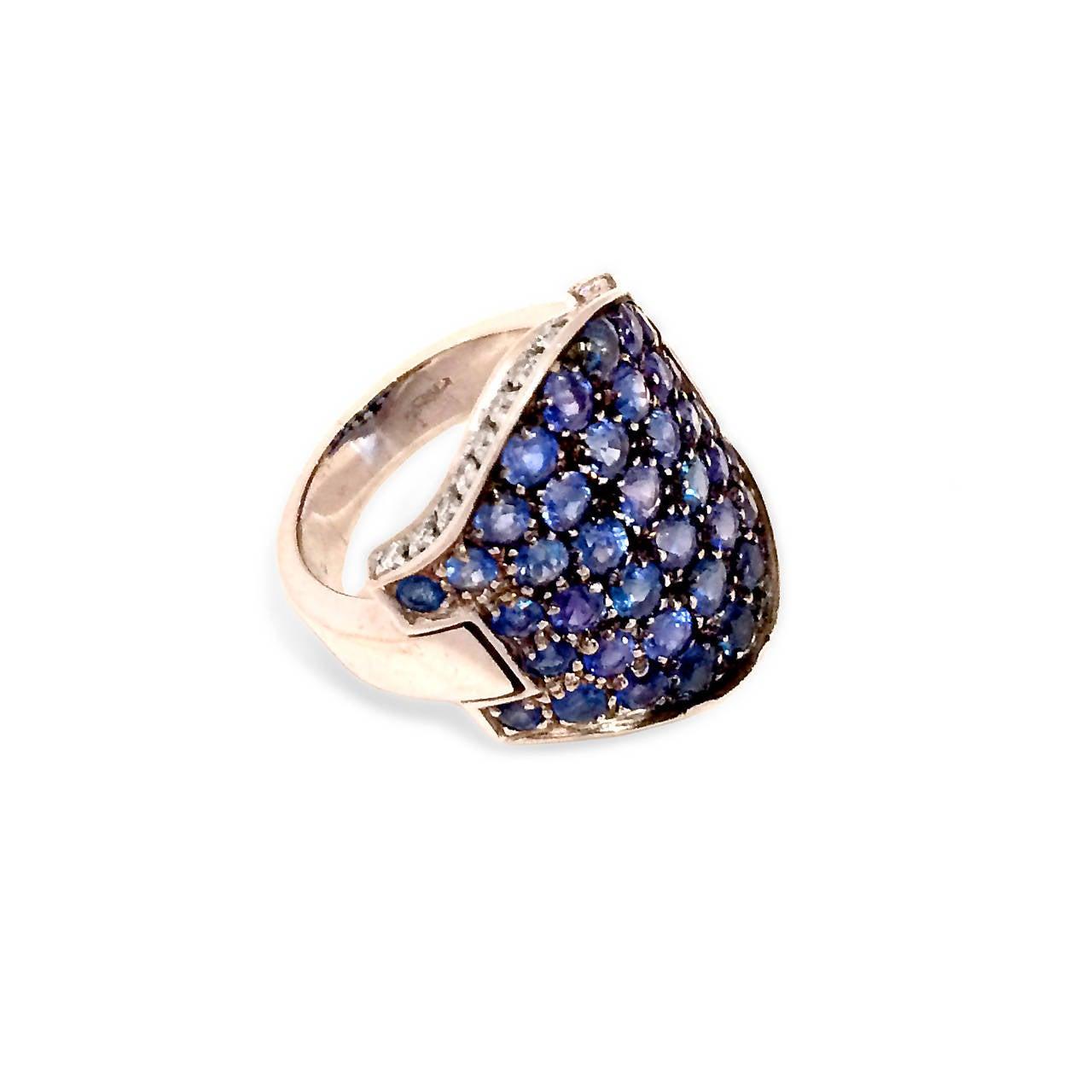 5.05 Carat Pave Sapphire Diamond Gold Ring 2