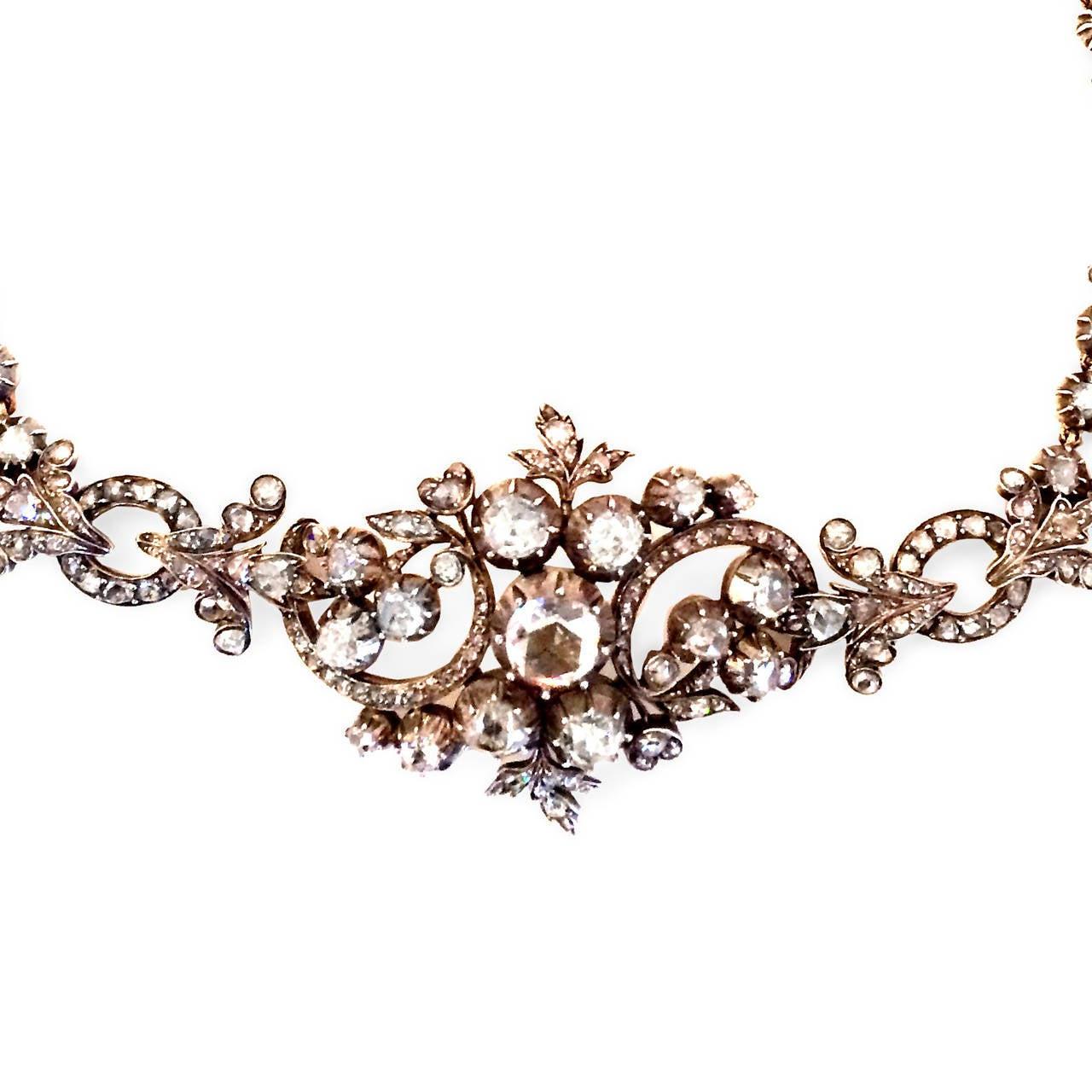 Georgian Rose Cut Diamond Necklace Converts to Bracelet 4