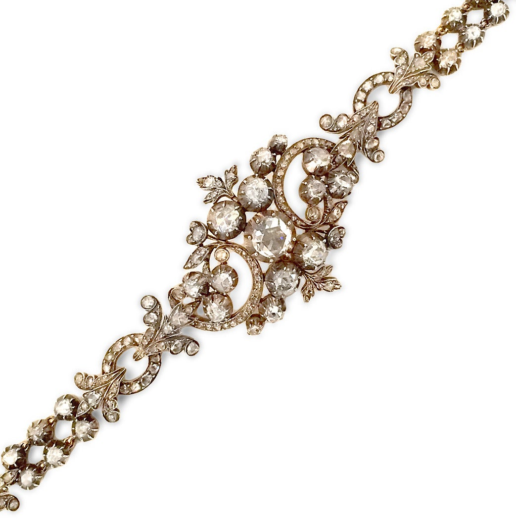 Georgian Rose Cut Diamond Necklace Converts to Bracelet 6