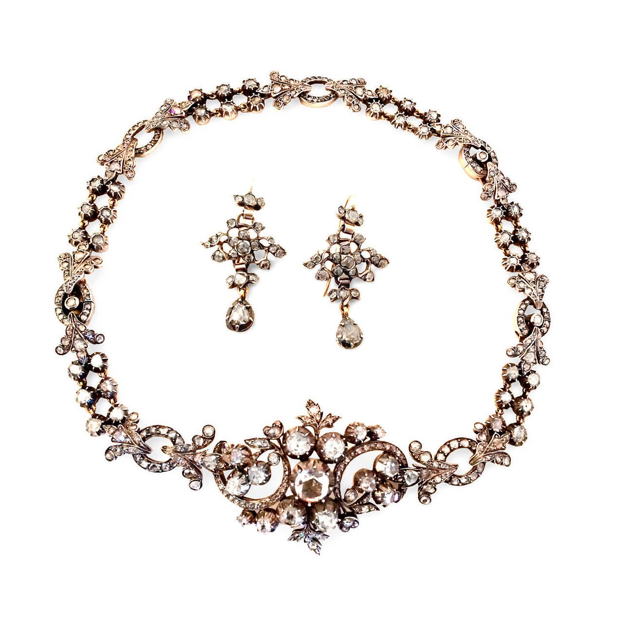 Georgian Rose Cut Diamond Necklace Converts to Bracelet 3