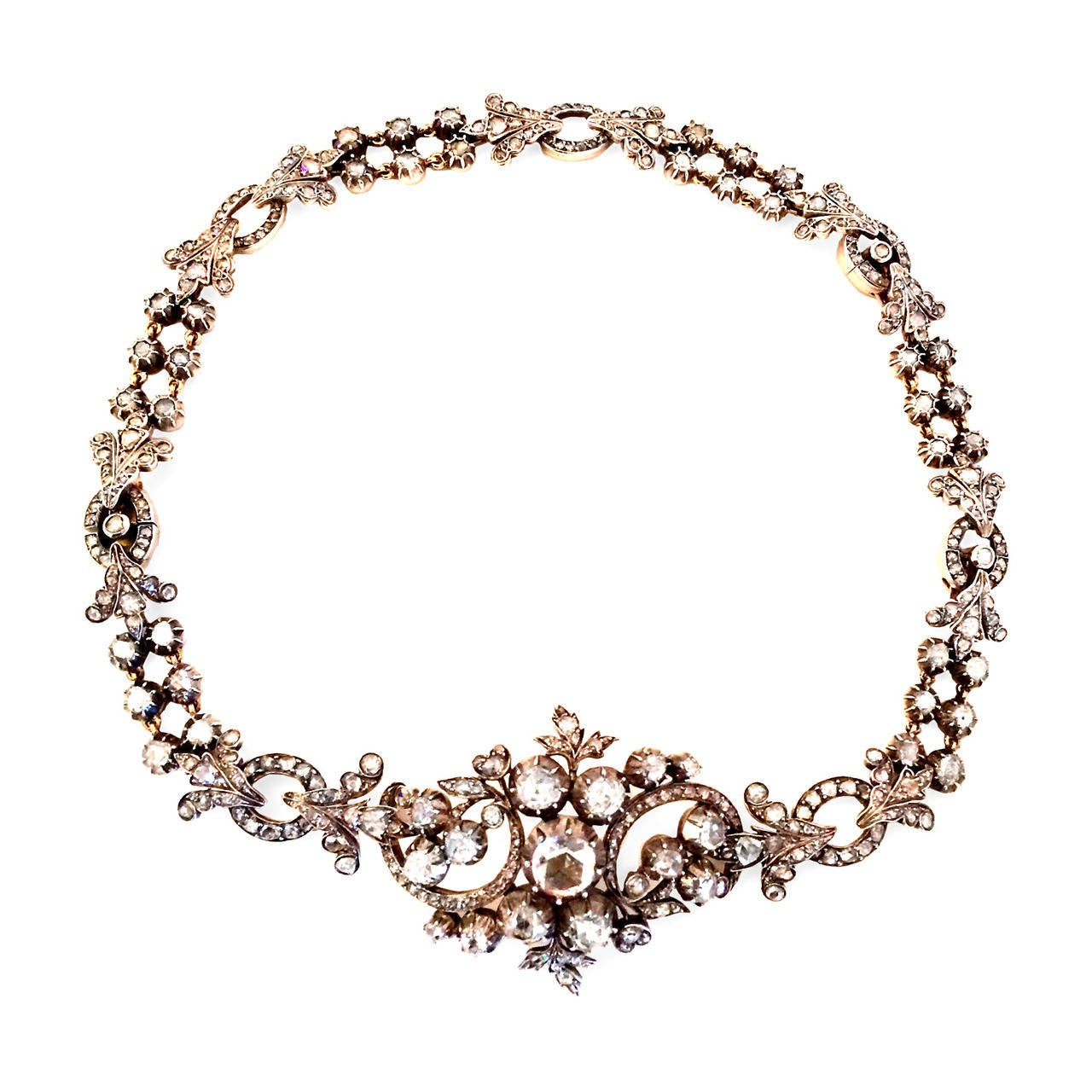 Georgian Rose Cut Diamond Necklace Converts to Bracelet 2