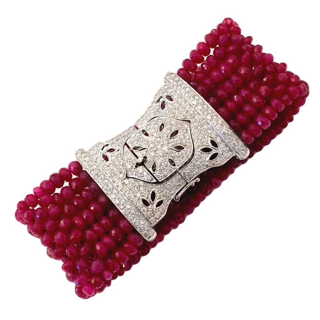 Devine Diamond and Ruby Bead Bracelet  1