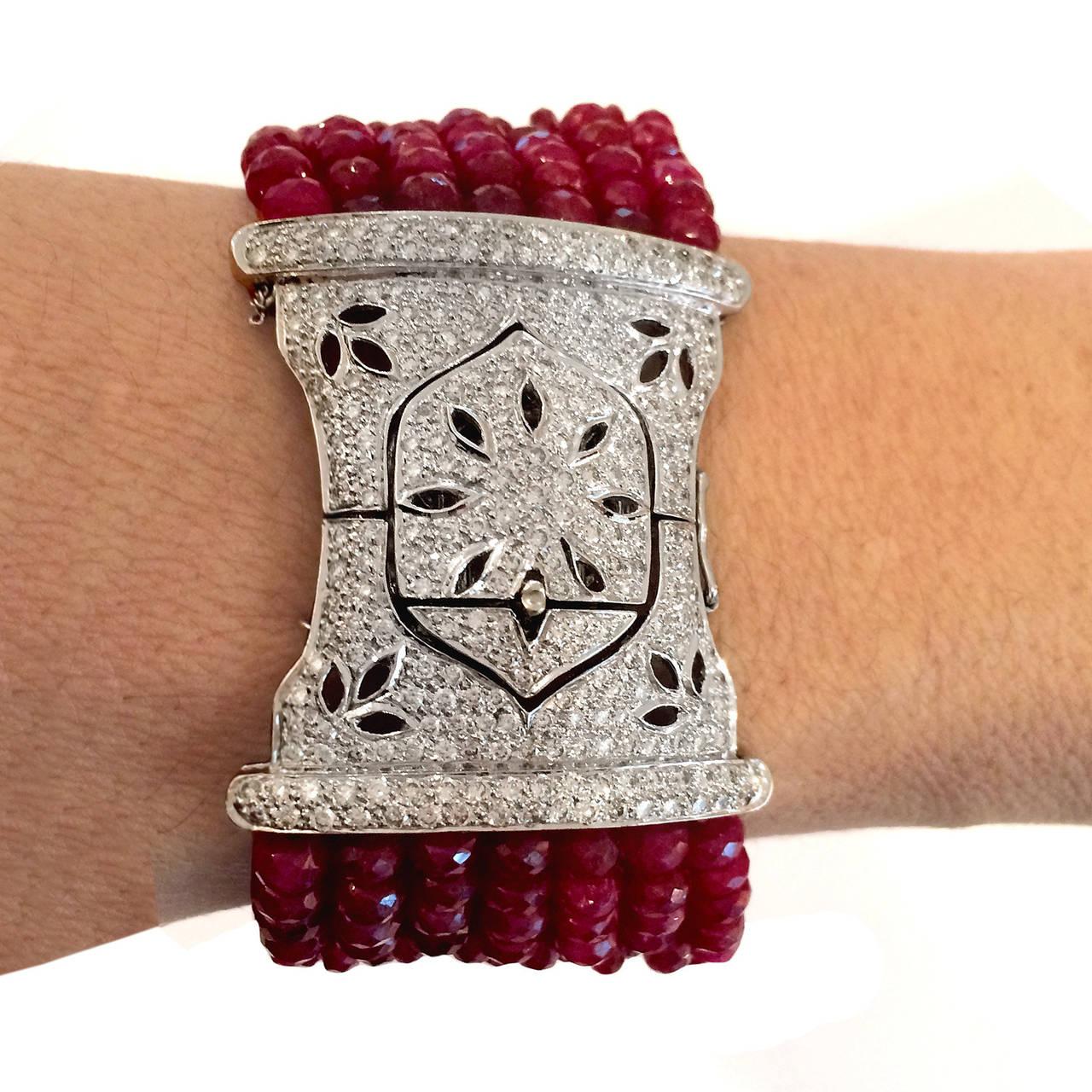 Devine Diamond and Ruby Bead Bracelet  2