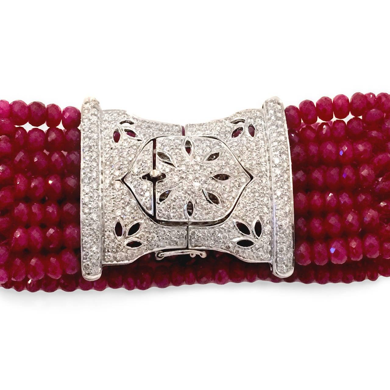 Devine Diamond and Ruby Bead Bracelet  3