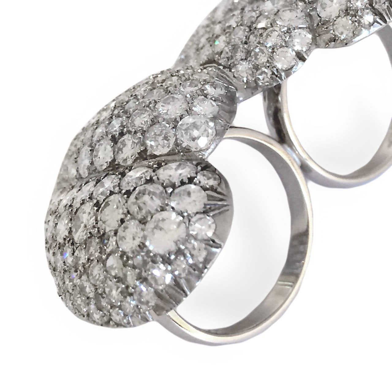 10 Carat Diamond Platinum Two Finger Double-Heart Shaped Ring 3