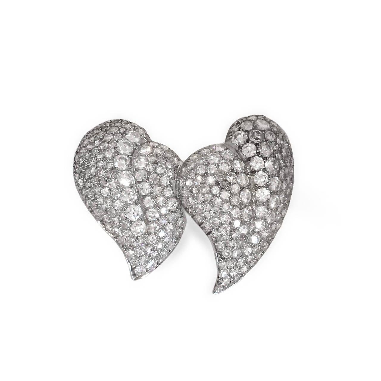 10 Carat Diamond Platinum Two Finger Double-Heart Shaped Ring 2