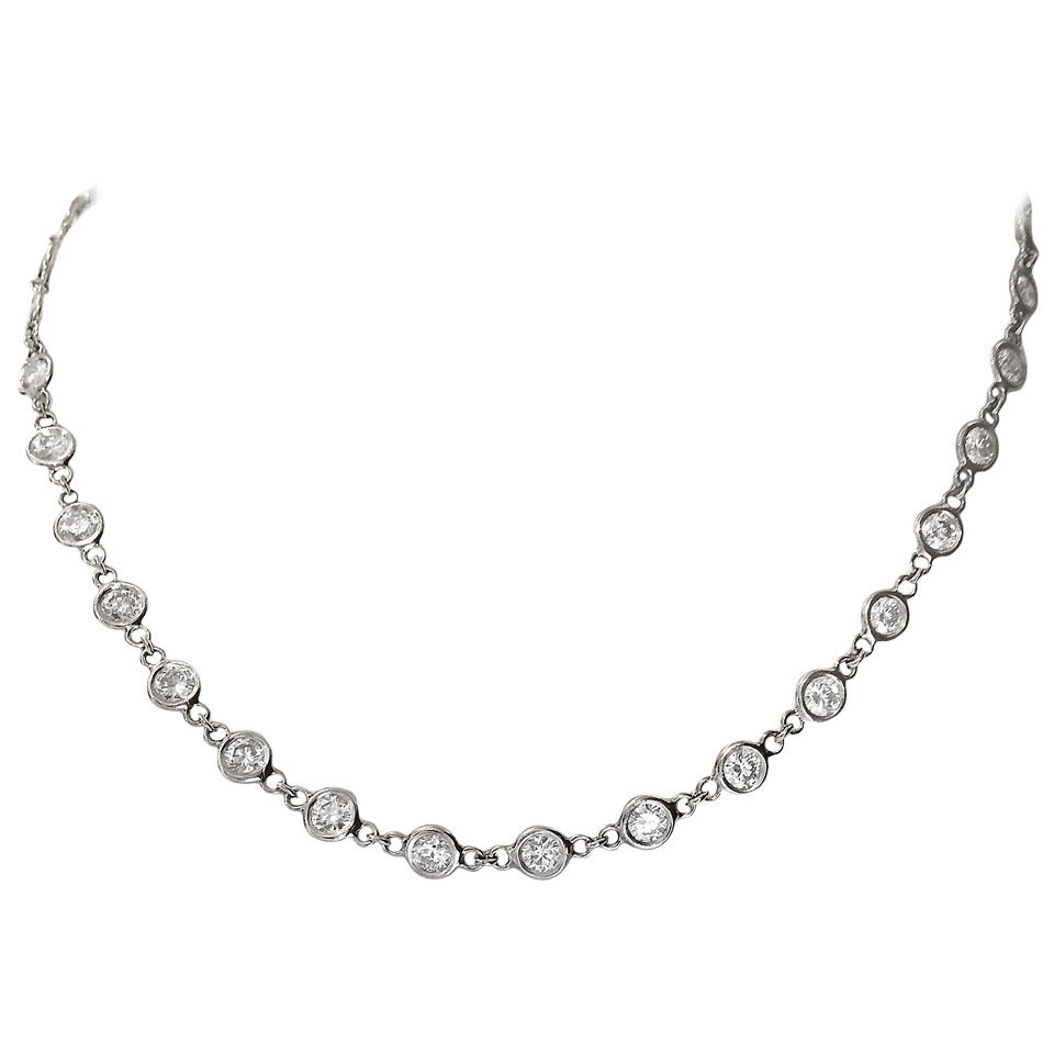 Diamond Platinum 7.77 Carat Necklace