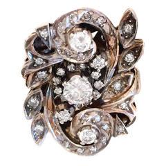 European Victorian Revival Diamond Silver Gold Ring