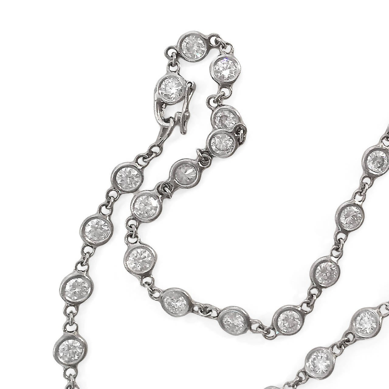 Contemporary Diamond Platinum 7.77 Carat Necklace For Sale