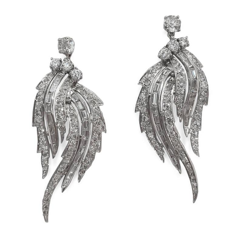 Divine 1950s 7 Carat Diamond Platinum Feathered Chandelier Earrings 2