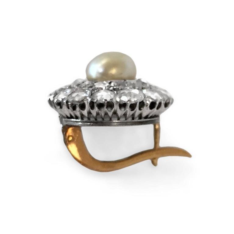 Victorian Natural Pearl 4 Carat Rose-Cut Diamond Cluster Earrings 3