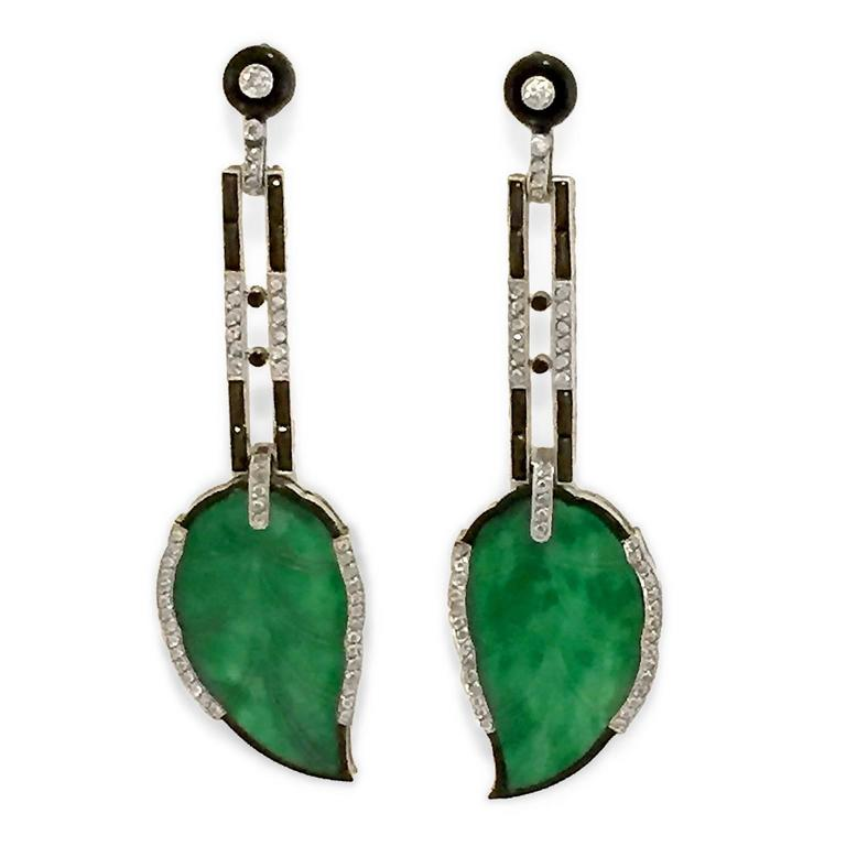 Divine Art Deco Carved Jade Diamond Platinum Earrings 2