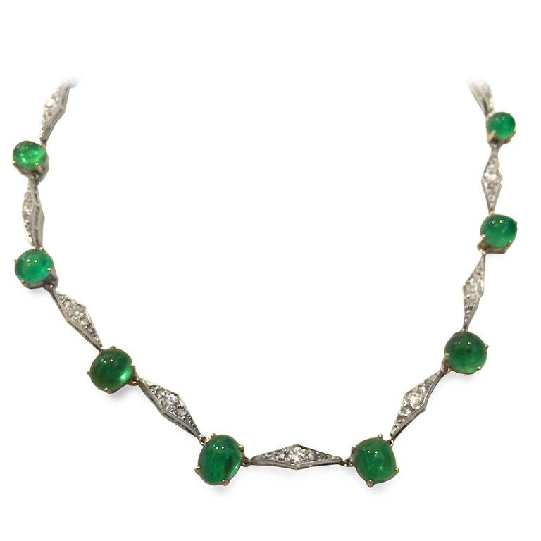 Art Deco Emerald Diamond Platinum Choker Necklace 4