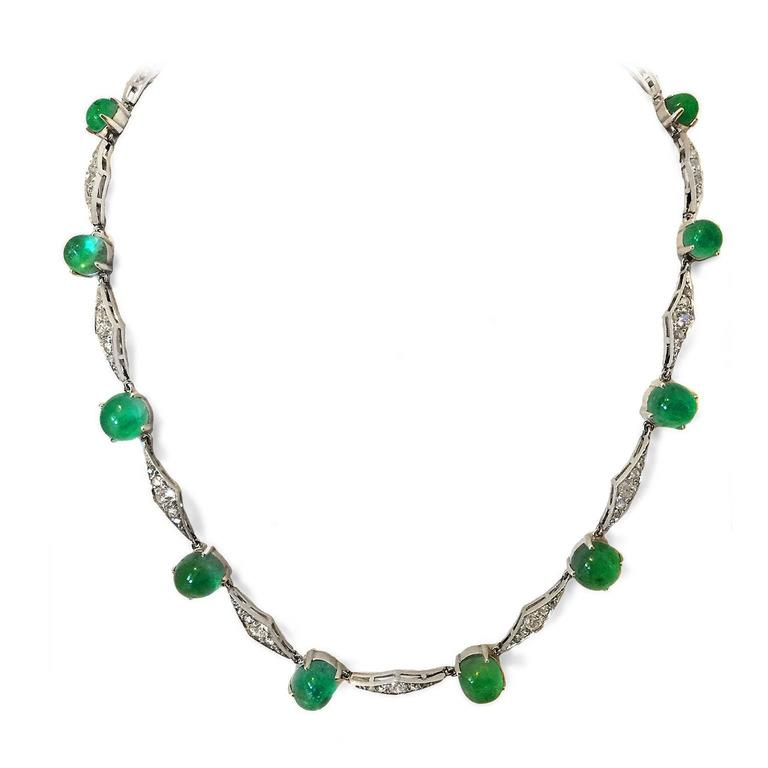 Art Deco Emerald Diamond Platinum Choker Necklace 5