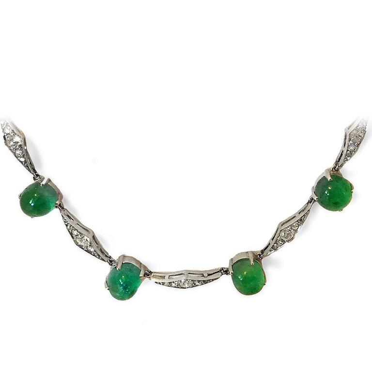 Art Deco Emerald Diamond Platinum Choker Necklace 6