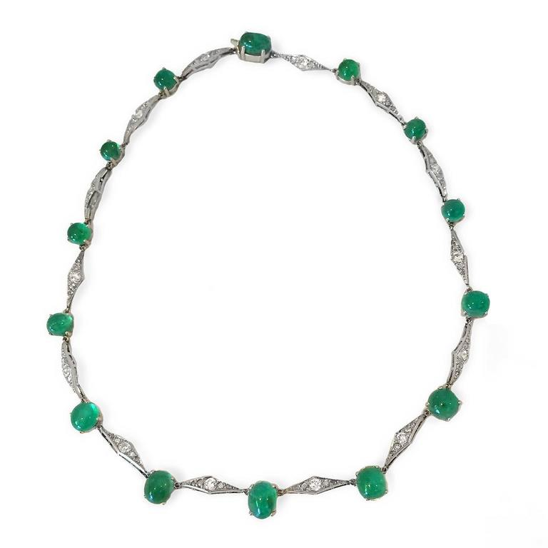 Art Deco Emerald Diamond Platinum Choker Necklace 3
