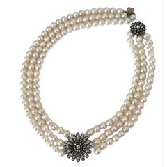 Victorian Cushion and Round Cut Diamond Pearl Necklace