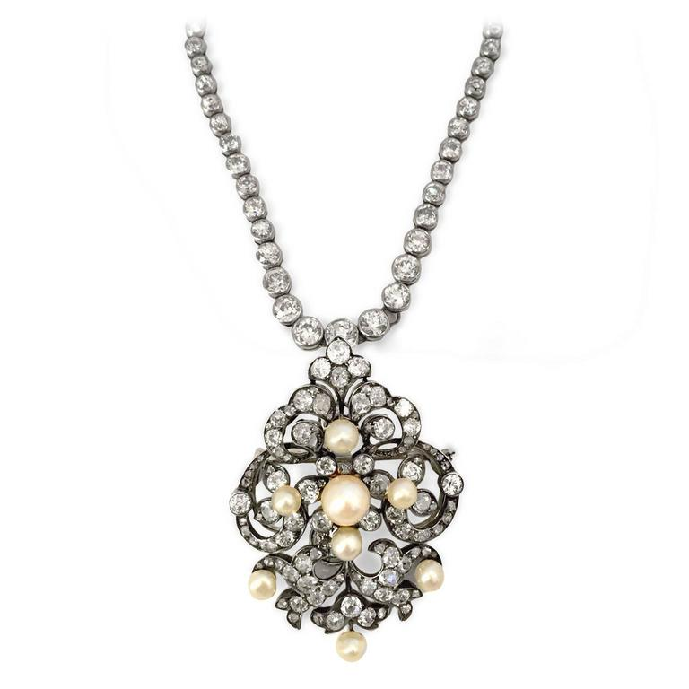 Elegant Victorian Pearl and Diamond Brooch/Pendant 4
