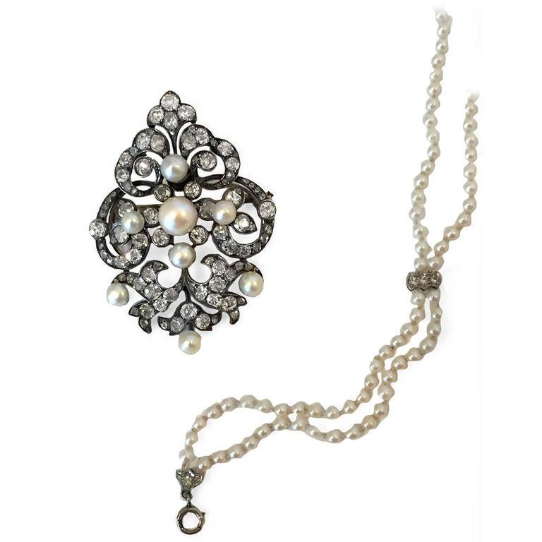 Elegant Victorian Pearl and Diamond Brooch/Pendant 5