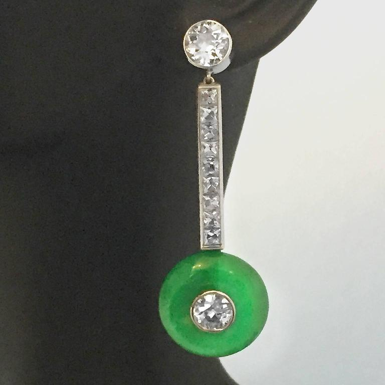 Elegant 1950s 6 Carat Jade Diamond Platinum Earrings 7