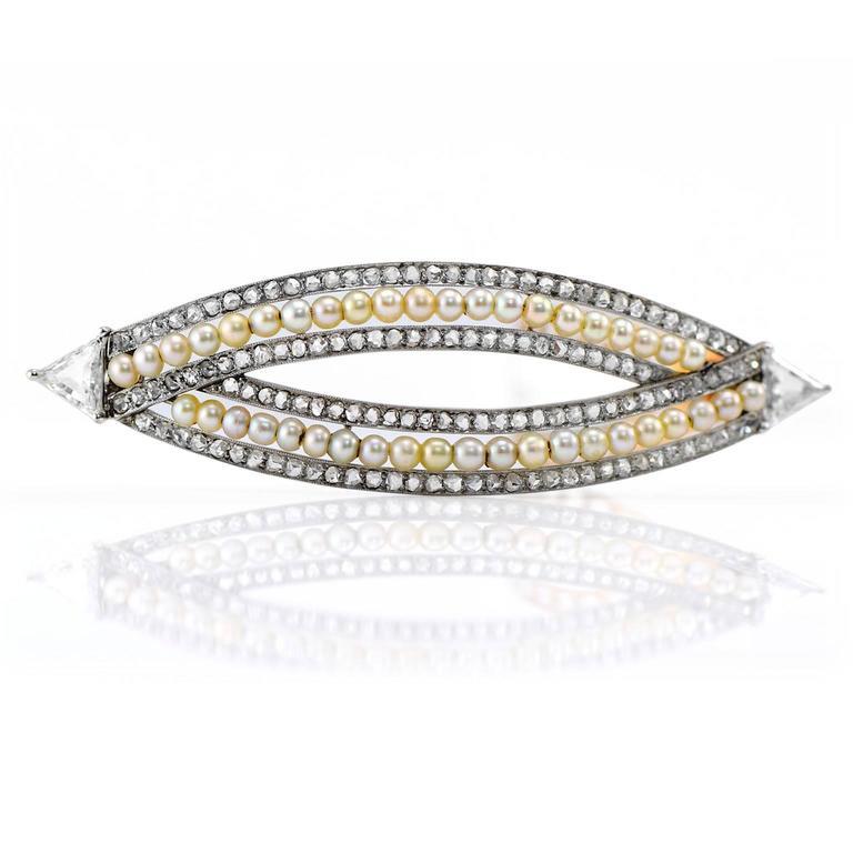 Victorian 4.76 Carat Pearl Diamond Gold Convertible Hair Clip Pendant 4