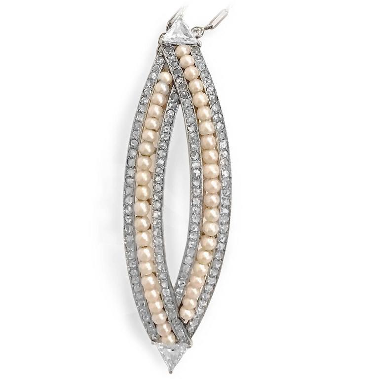 Victorian 4.76 Carat Pearl Diamond Gold Convertible Hair Clip Pendant 3