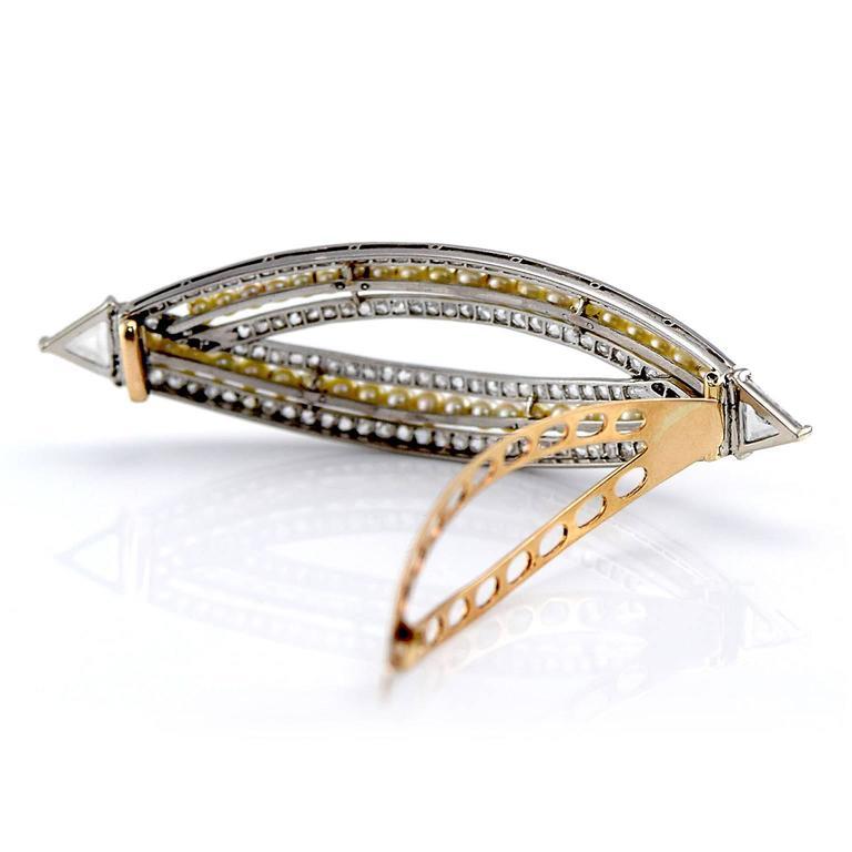Victorian 4.76 Carat Pearl Diamond Gold Convertible Hair Clip Pendant 5