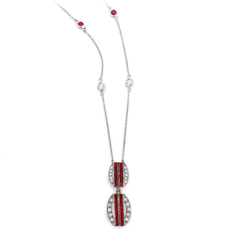 Round Cut Art Deco Diamond Ruby Platinum Double Pendant Necklace For Sale