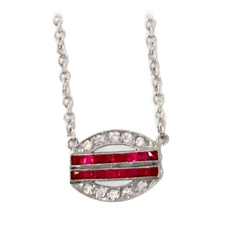 Art Deco Ruby Diamond Platinum Pendant 4