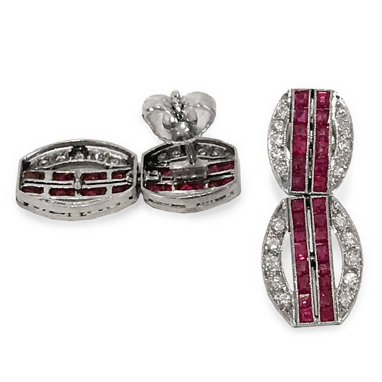 Mixed Cut Art Deco Ruby Diamond Platinum Dangling Earrings For Sale
