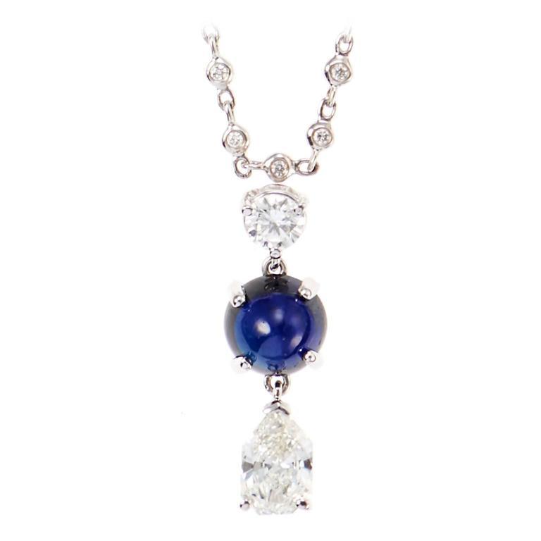 Elegant Cabochon Sapphire Diamond Gold Pendant 1