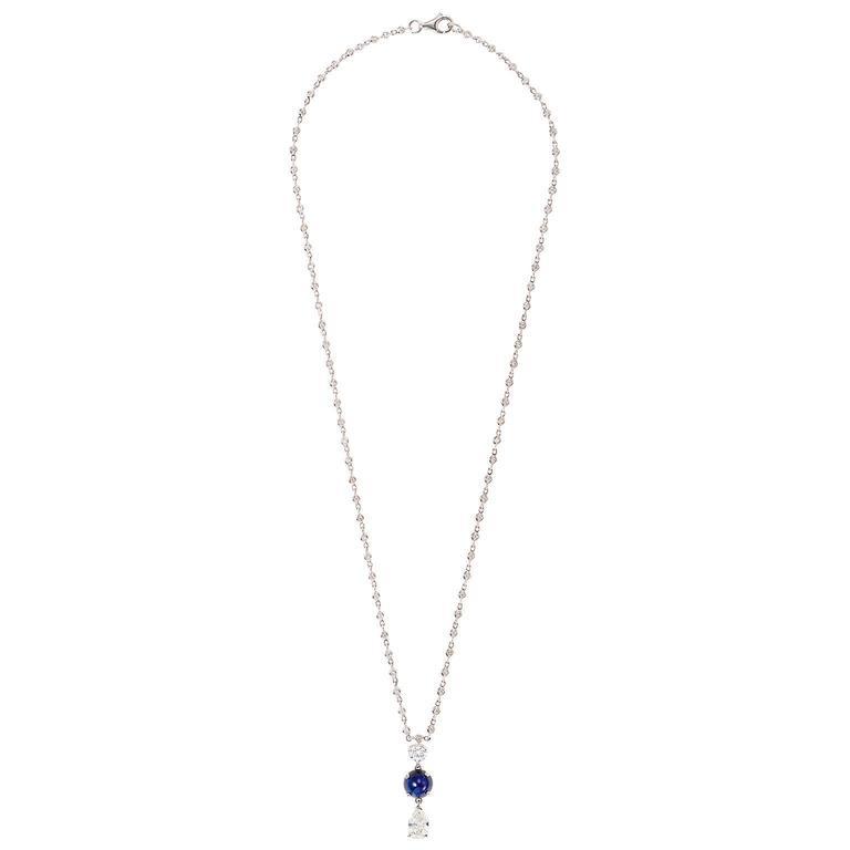 Elegant Cabochon Sapphire Diamond Gold Pendant 2