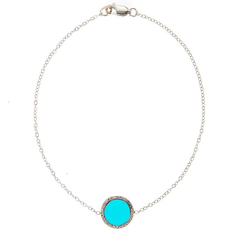 Art Deco Turquoise Diamond Ankle Bracelet