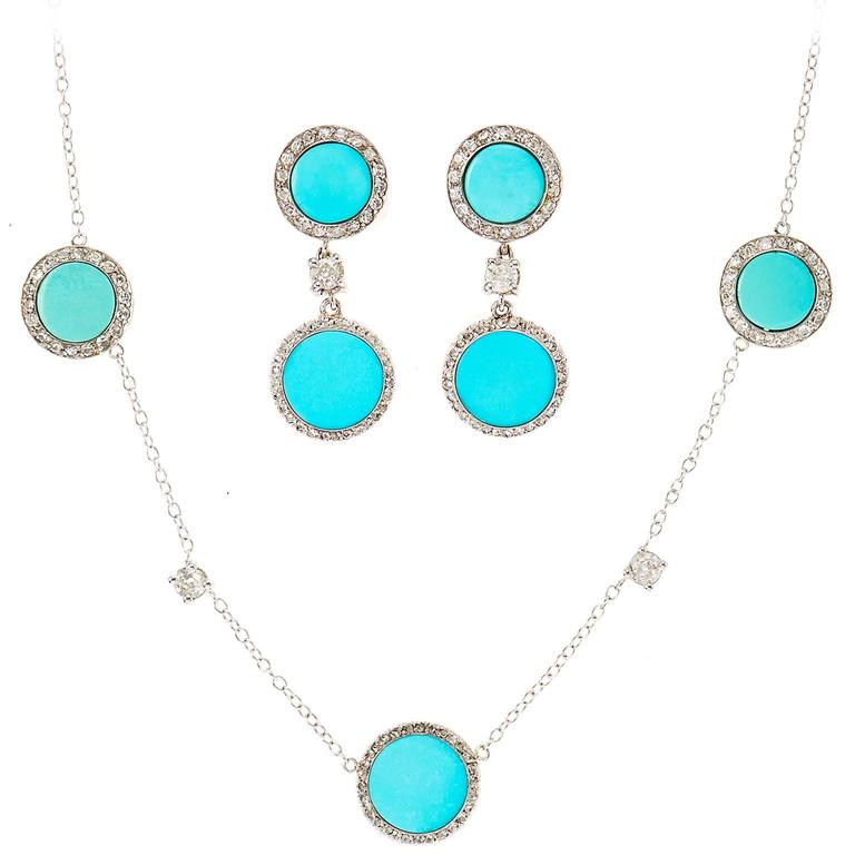 Art Deco Turquoise Diamond Platinum Necklace In Excellent Condition For Sale In New York, NY
