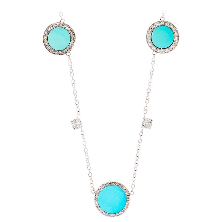 Art Deco Turquoise Diamond Platinum Necklace For Sale