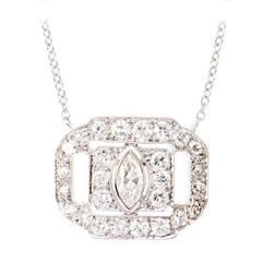 Art Deco Everyday Diamond Platinum Pendant
