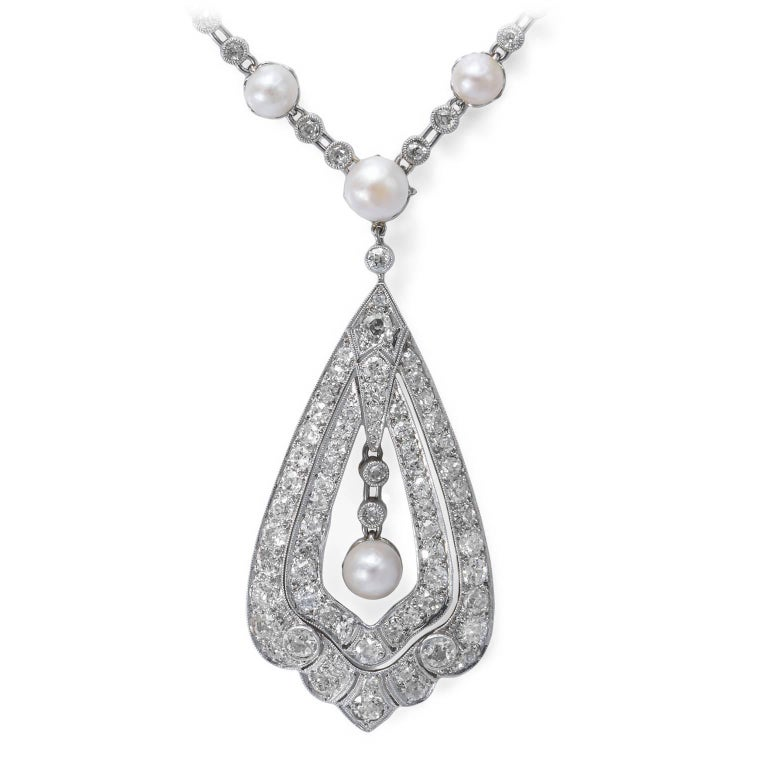 Edwardian Pearl Diamond Platinum Necklace 2